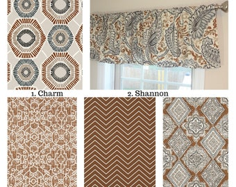 Curtain Valance Topper Window Treatment 52x15 Caramel Floral Geometric Chevron Brown Ivory Grey Home Decor