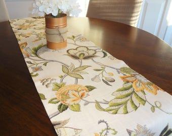 Kaufmann Brissac Amber Gold Linen Floral Table Runner Home Decor 12x72 Ivory Green Yellow Gold