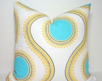 SPRING FORWARD SALE Decorative Accent Pillow Cover Susette Coastal Blue Saffron Yellow Geometric Pillow Cover Choose Size