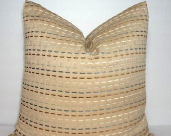 SPRING FORWARD SALE Decorative Tan Pillow Cover With Blue Brown Ivory Weaved Stripe  Throw Pillow Cover 18x18