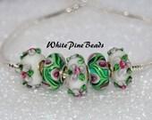 Pink, White and Green  Murano Glass Lampwork Beads 5 PC Set    fits European  Charm Bracelets WhitePineBeads