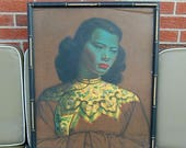 Reserved - Vladimir Tretchikoff Chinese Girl Blue Lady Vintage 1950s Framed Oriental Print