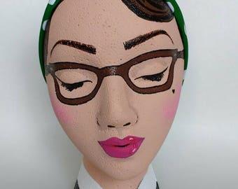 EZ Faux Head Wrap Headband Green Polka Dot