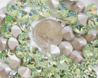 Swarovski 1028 Chrysolite 39ss Crystal Chaton Foiled