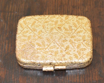 Vintage Revlon Gold-Toned Love-Pat Oak Leaf Design Mirror Powder Compact