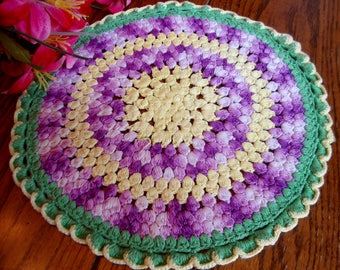 Colorful Crochet Doily Green Purple and Yellow Round Vintage Doilies