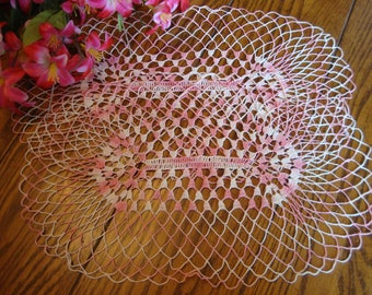 Pair Doilies Pink and White French Crochet Lace Doilies Vintage Table Linens