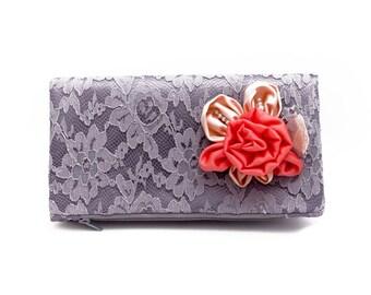 Clutch ,Bridesmaid gift ,wedding gift ,make up bag,cosmetic bag ,removable FLower broch .Monogramm option