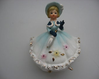 Vintage Mid Century Enesco  Figurine// Beautiful Lady Planter/Vanity Accessory//Spaghetti Ceramic//Made in Japan//Holiday Collectible