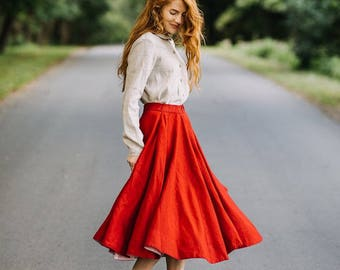 Pleated Skirt, Linen Skirt, RED Skirt, Womens Skirt, Poppy Skirt, Red Midi Skirt, Knee Length Skirt, High Waist Skirt / Red Poppy Skirt