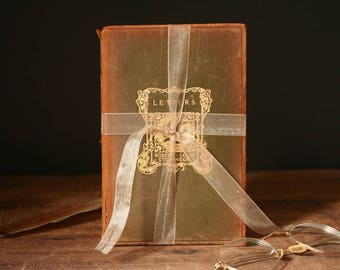 Antique books, two volumes of Letters,  Robert Louis Stevenson, pair of leather books