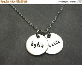 SALE mothers necklace, personalized hand stamped stainless 2 name necklace, name necklace, date necklace