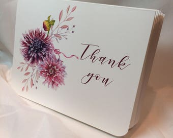 Dahlia Bouquet Thank You Greeting Card Set