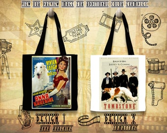 Borzoi Tote Bag/Russian Wolfhound/Borzoi Portrait/Borzoi Art/Personalized Dog/Custom Dog Portrait/Movie Poster/Anna Karenina/Tombstone