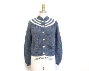 Vintage 1950s Sweater | White Angora Striped Grey Knit 1950s Cardigan | size small - medium