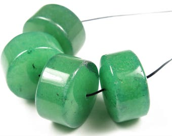 Green Aventurine Wheel-Shaped Large Rondelle Beads - 18mm x 12mm - 4 Pieces - B7565
