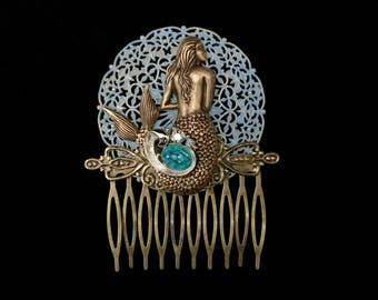 Mermaid Hair Comb- Mermaid Costume- Blue Hair Comb- Mermaid Hair Clip- Mermaid Hair- Beach Wedding- Mermaid Hair Bow- Mermaids- Beach Party