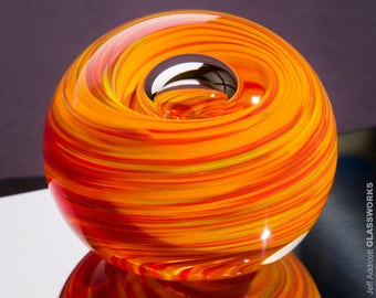 Handblown Glass Paperweight - Red Orange and Yellow Streaks with Bubble - Large Size