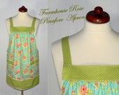 Farmhouse Rose Pinafore Apron, no tie apron, comfortable all day apron, made to order XS - Plus Size, out-of-print fabric, limited edition