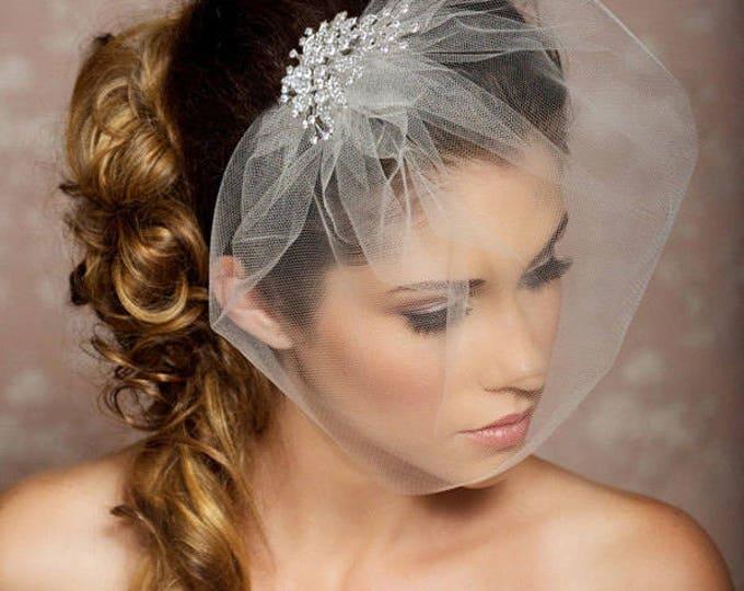 Birdcage Veil, Crystal comb bird cage Veil, Wedding Veil, Rhinestone Comb, Blusher Veil, Tulle Veil, Bridal Veil, Bridal Hair Accessories