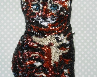 Cat Sequins Embroidered Sew on Applique