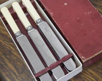 antique large set of 6 boxed dinner knives