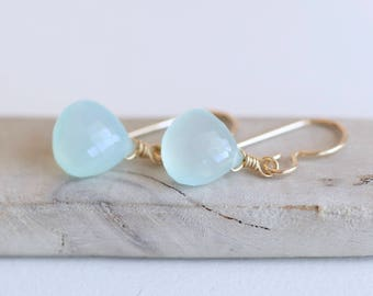 Gold Seafoam Chalcedony Earrings, Light Aqua Earrings in 14K Gold Fill gemstone earrings, Sea Blue Gold Dangle Summer Earrings sea glass