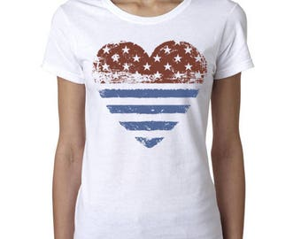 4th Of July Shirt American Flag Heart Shirt Womens Graphic Tees 4th Of July Gifts Patriotic Shirts 4th Of July Women Funny Tshirts  USA Tees