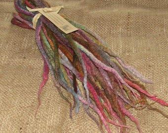 Double Ended DREADLOCKS Hand Dyed DE Dreads Earthy Sari Rainbow Purple Pink Natural Wool Felt Felted Festival Locks Boho Bohemian Brown