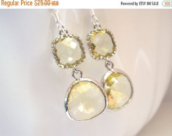 SALE Yellow Earrings, Lemon Earrings, Silver Soft Yellow Citrine, Wedding Jewelry, Bridesmaid Earrings, Bridal Earrings Jewelry, Bridesmaid