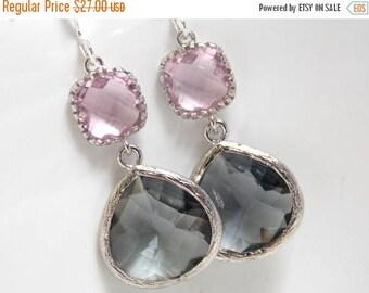 SALE Silver Gray Earrings, Pink Earrings, Grey Earrings, Rose, Charcoal, Wedding Jewelry, Bridesmaid Earrings, Bridal Jewelry, Bridesmaid Gi