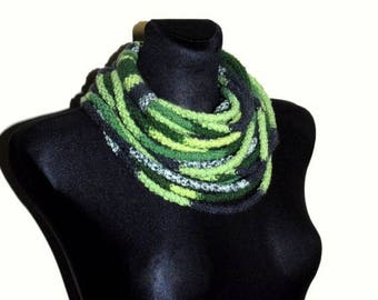 Christmas in July Sale Grey and Green Infinity Scarf, Grey and Green Crochet Scarf, Rope Scarf, Crochet Infinity Scarf, Crochet chunky scarf