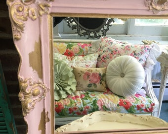 Vintage baroque mirror, Shabby chic pale ink chalk paint