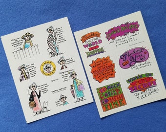 Vintage Hallmark Stickers Maxine and Sassy Sayings, two full sheets of vintage stickers, funny stickers, SWAK sealed with a kick