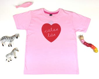 NEW Kids Clothes Pink T-shirt Welsh Text Calon Lan Pure Heart Red