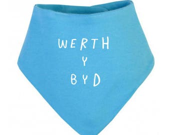 Welsh Baby Toddler Turquoise Cotton Dribble Bib Werth y Byd Worth the World White Unisex