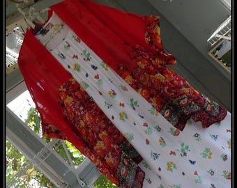 Free Domestic Shipping-ELIZA-One size,BohoRobe, Chiffon,Shawl,Boho Kimono,Bed Jacket, 3/4 length sleeve,floral print.Nightgown not included.
