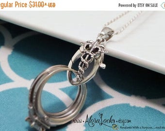 SUMMER SALE AloraLocks THE Original Medical Healthcare Caduceus Ring & Charm Holding Pendant-Sterling Silver