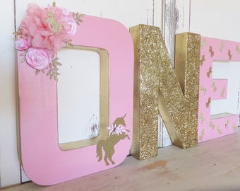 "UNICORN ""ONE"" Birthday 12"" Free Standing Letter Set of 3 ~ Photo Prop ~ Pink & Gold Glitter Crown ~ Decoration ~ Table Decor"