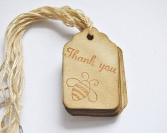 25 Thank You Queen Bee Coffee stained vintage inspired favor gift tags. wishing tree card. primitive. rustic. wedding. scrapbooking