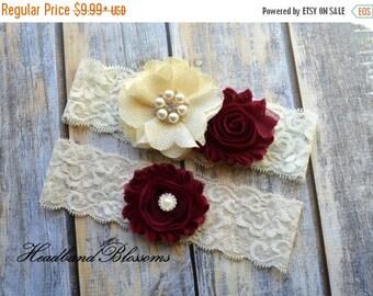 SALE MAROON IVORY Bridal Garter Set - Keepsake & Toss Garters - Burlap Chiffon Flower Pearl Lace Garters - Burgundy - Rustic Country Wedding