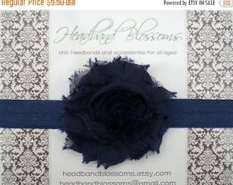 SALE SHOP BEST Seller - Chic Navy Shabby Frayed Chiffon Flower Rosette on Shimmery Elastic Headband - Newborn Baby Toddler Girl Tween Adult