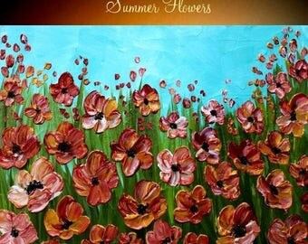 SALE ORIGINAL contemporary mporary impasto abstract  Poppy painting by Nicolette Vaughan Horner