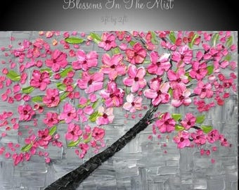 SALE Original Abstract Blossom Tree 3ft x 2ft gallery canvas-Grays,Pinks,Contemporary impasto palette knife  painting by Nicolette Vaughan H