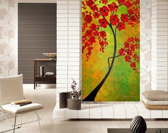 "SALE Oil Landscape painting Abstract Original Modern 36"" palette knife Red BlossomTree impasto oil painting by Nicolette Vaughan Horner"