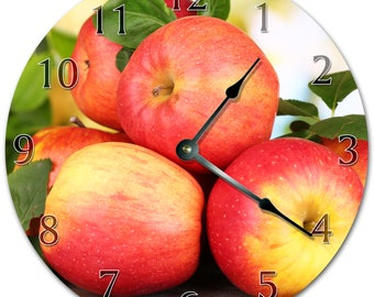 """10.5"""" FRESHLY PICKED APPLES Clock - Living Room Clock - Large 10.5"""" Wall Clock - Home Décor Clock - 5629"""