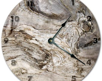 "10.5"" GRAY OLD WOOD Clock - Living Room Clock - Large 10.5"" Wall Clock - Home Décor Clock - 5859"