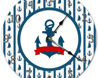 """10.5"""" SEAMANS ANCHOR Clock - Blue And White Clock - Living Room Clock - Large 10.5"""" Wall Clock - Home Décor Clock - 4508"""