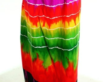 Vintage 90s Alice Polynesian Multi-coloured Tribal Maxi Skirt UK 12 14 US 10 12
