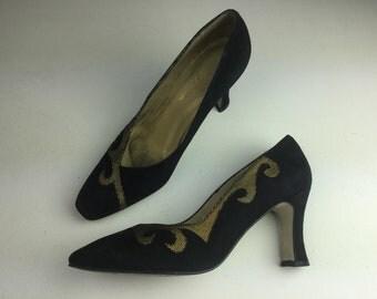 Vintage 80s Captiva Black & Gold Suede Shoes UK 6